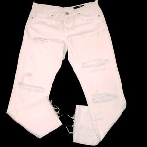 BlankNYC Denim Distressed White Straight Crop 27